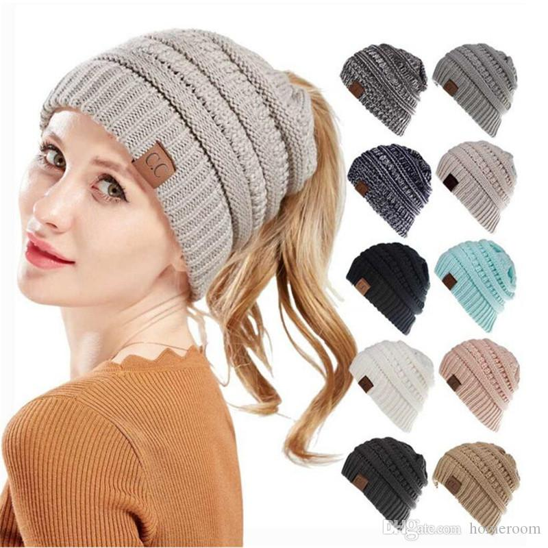 1c747852 Women Winter Hat Knitted Wool Cap Beanies Soft Stretch Skullies Unisex  Casual Hats Outdoor Sport Ponytail Beanies