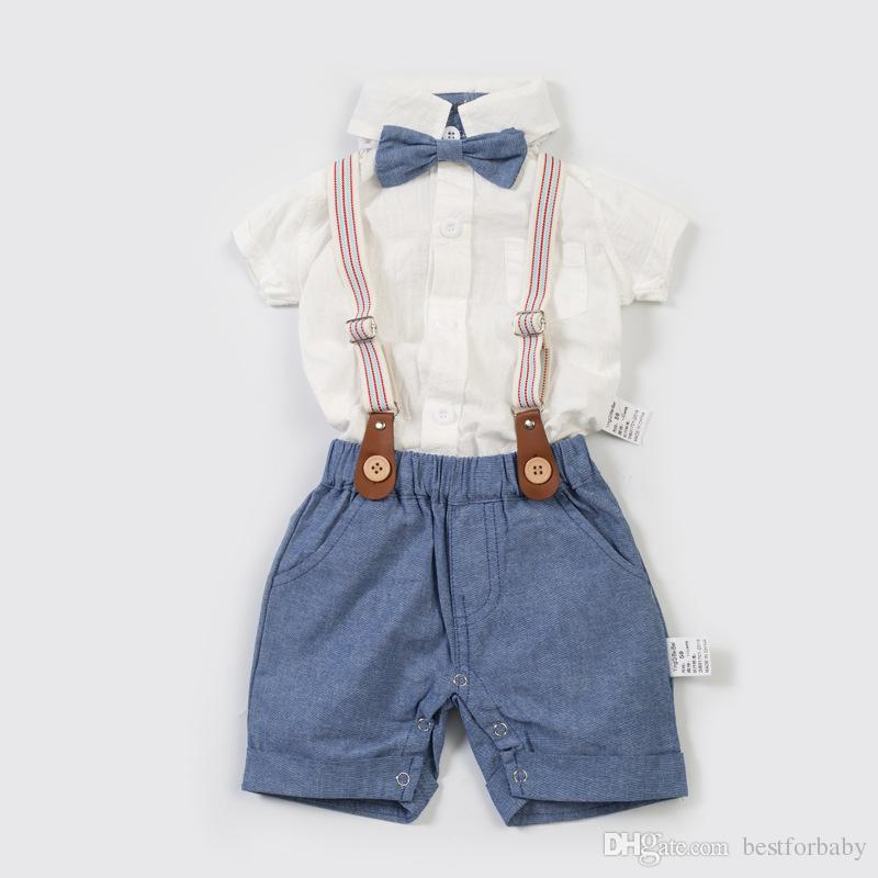 a9147a202 1-3y Baby Boys Gentleman Outfits Suits, Infant Short Sleeve Shirt+Bib Pants+Bow  Tie Overalls Clothes Set Suspender Trousers
