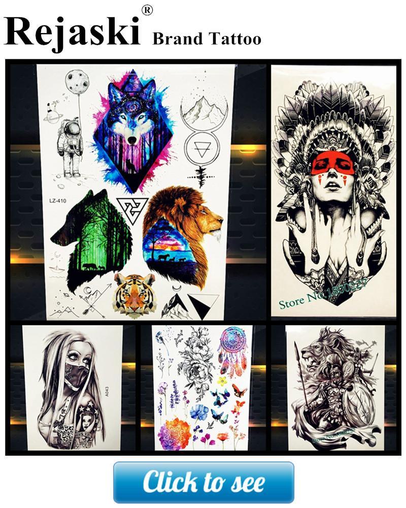 Customized Waterproof Fake Arm Tattoo Siberia Tribal Lion Head Feather Tatoo For Men Women Henna Black Temporary Tattoo Stickers