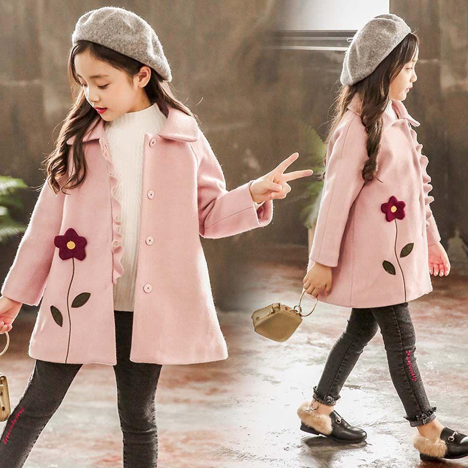 a0e73bc9d Kid Girl Jackets Winter Wool Coat For Girls Teens Autumn Jacket Warm ...