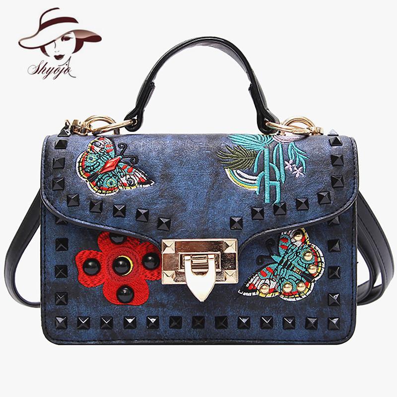 8a54c902297 New Mini Fashion Luxury Brand Designer Rivet Embroidery Women Messenger  Shoulder Handbag Vintage Flap Clutch Purse Leather Bags