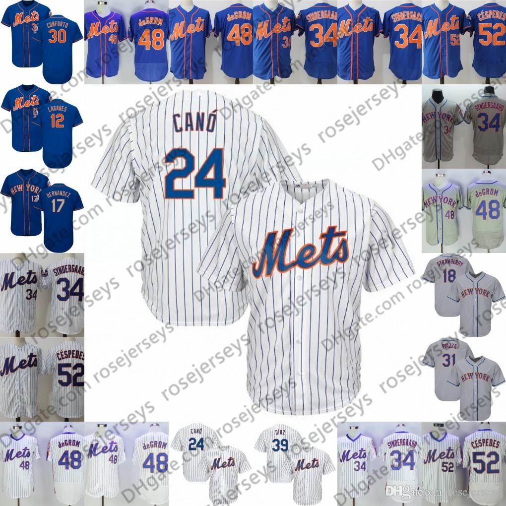 101b7b122 2019 Custom Mets Jerseys New York  24 Robinson Cano 39 Edwin Diaz 30  Michael Conforto 34 Noah Syndergaard 48 Jacob DeGrom 52 Yoenis Cespedes  From ...