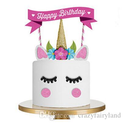 Grosshandel Hochzeit Cupcake Dekoration Einhorn Party Cake Topper Happy Birthday Supplies Baby Kinder Geburtstag Dekorationen Freies Verschiffen