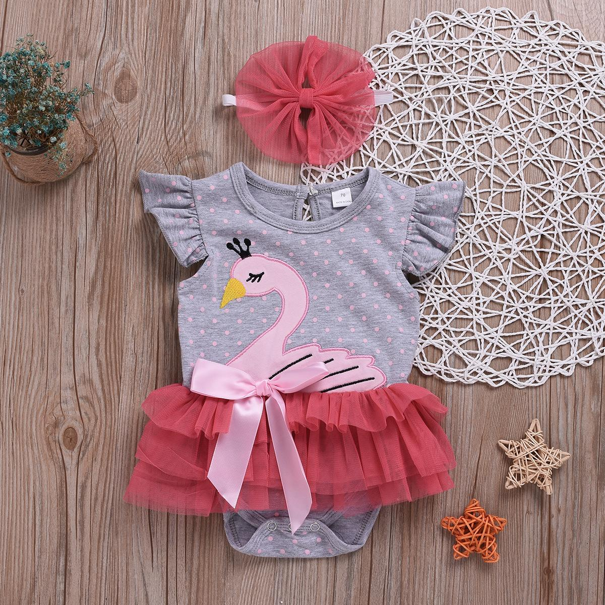 5f68be9aa Baby Girls Swan Romper with Bow Headband Cartoon Infant Lace Tulle ...