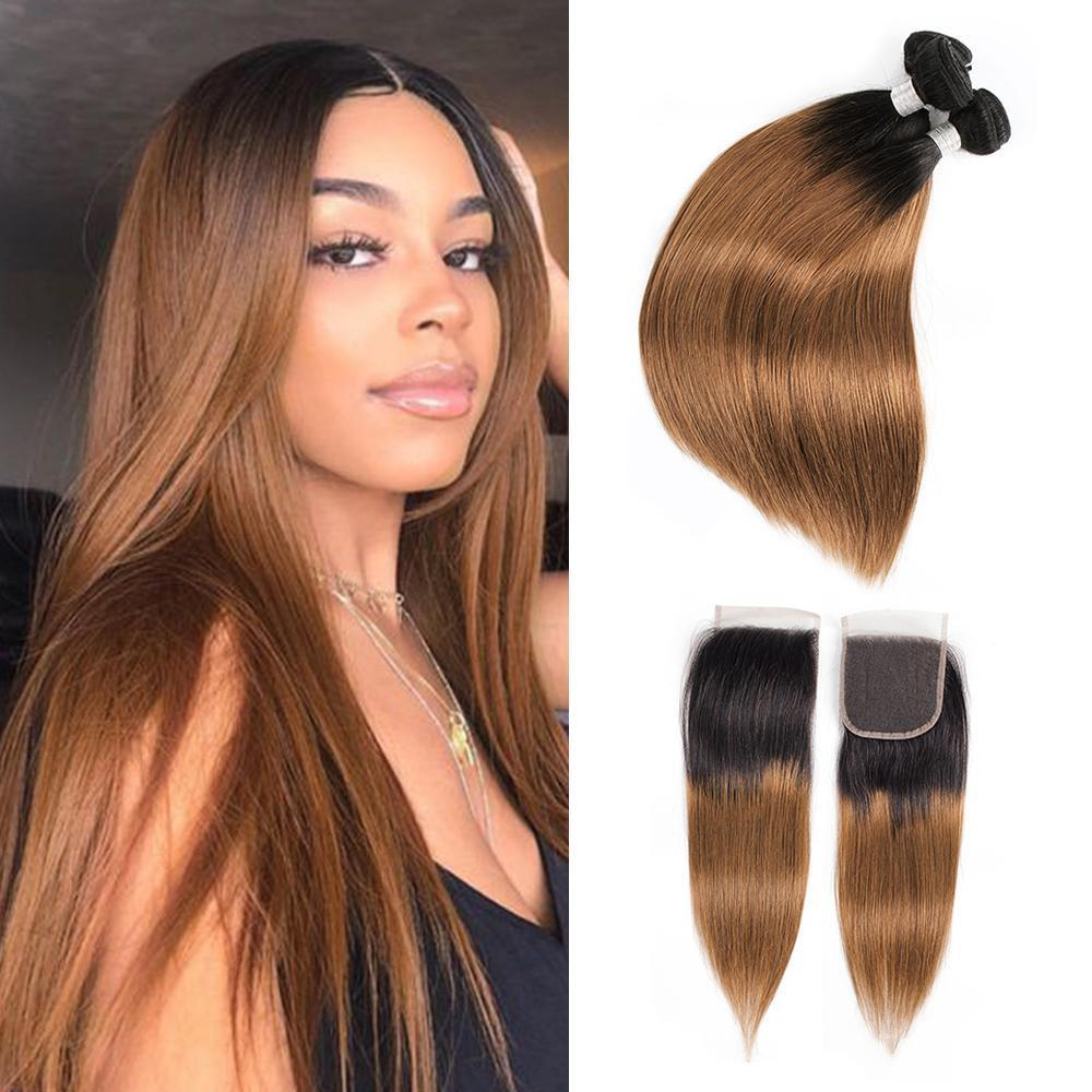 1B30 Ombre Human Hair Bundles With Closure Golden Brown Brazilian Straight Hair 3 Bundles With 4x4 Lace Closure Remy Human Hair Extensions
