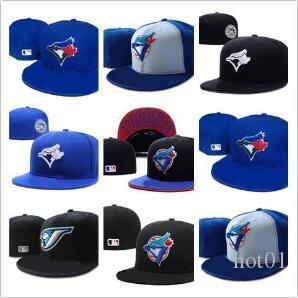 reputable site c4a9c e820c New Hot Men s Toronto Blue Color fitted hat flat Brim embroiered blue jays  team logo fans baseball Hat Blue Jays full closed Chapeu brand