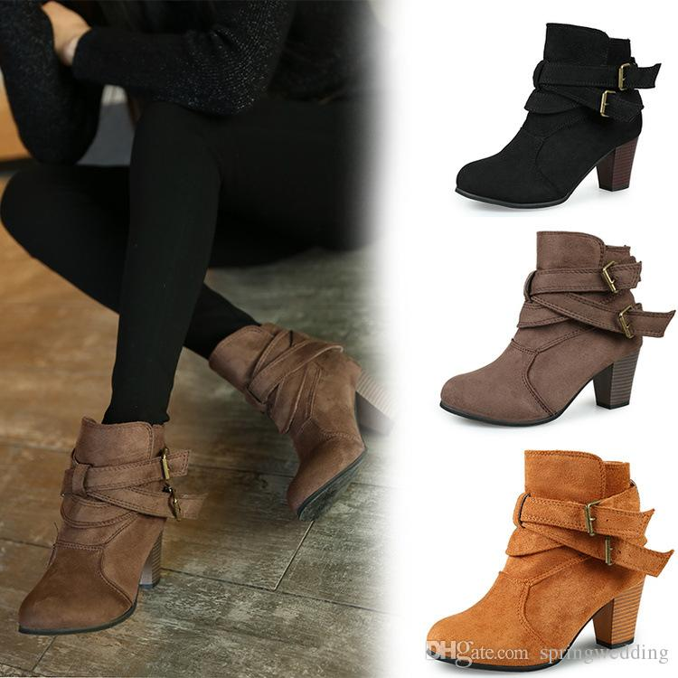 c67348321e9f 2019 Hot Sell Suede Ankle Boots Buckles Chunky Heel Daily Elegant Ladies  Girls Round Toe Boots Short For Winter Autumn Outdoor Shoes CPA2002 Platform  Boots ...