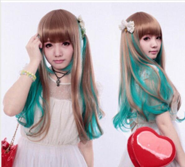 FREE SHIPPING+ ++ lolita Harajuku Turquoise Grren/Brown Mixed Long Straight Wig