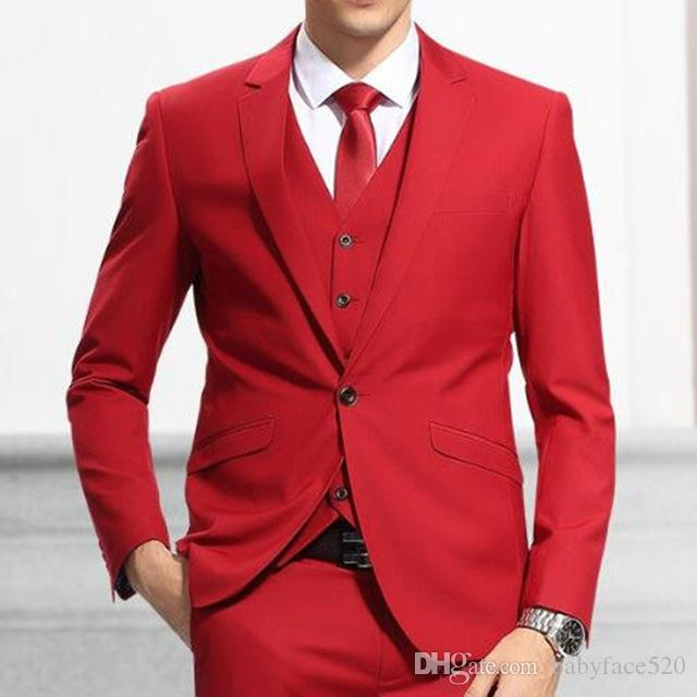 Red Wedding Groomsmen Tuxedos Trim Fit Notched Lapel Man Suit Three Piece Evening Party Men Suits Jacket Pants Vest Blazer