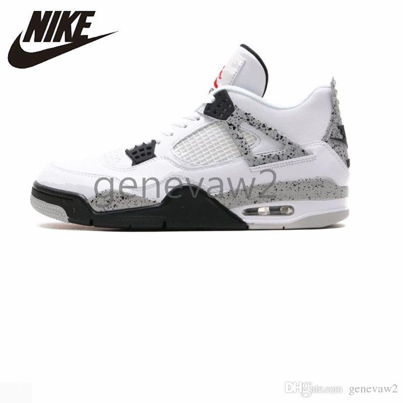 9d94a5dd62e958 2019 Nike Air Jordan 4 Boy Basketball Shoes Jordans 4s White Cement  Original Men Women IV Sports Sneaker 840606 192 Trainers 451886612 Shoes  Online ...