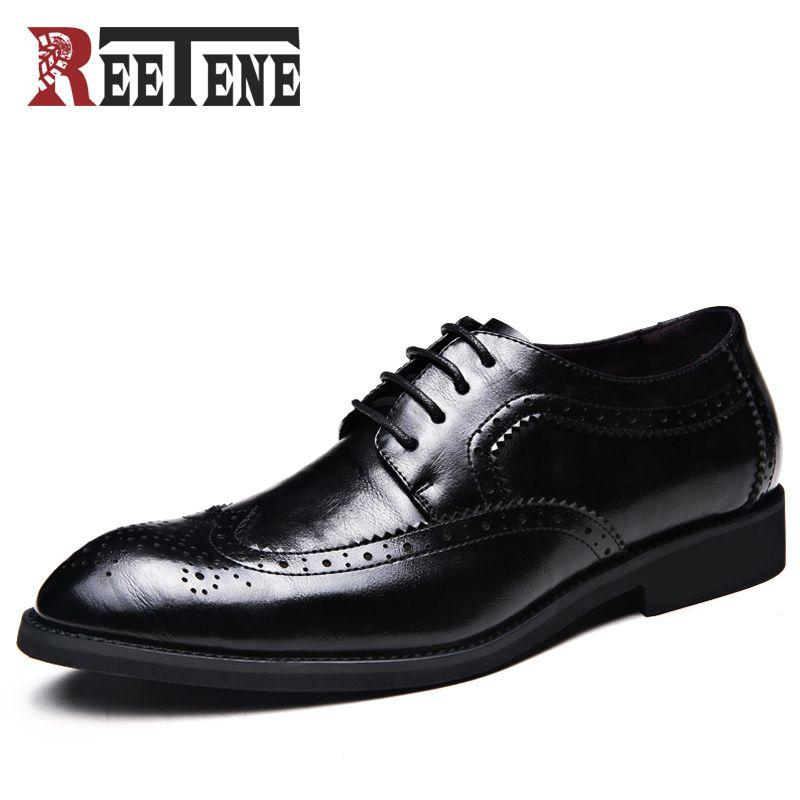254b4cb05b5 REETENE Fashion Men Shoes Genuine Leather Men Dress Shoes Brand ...