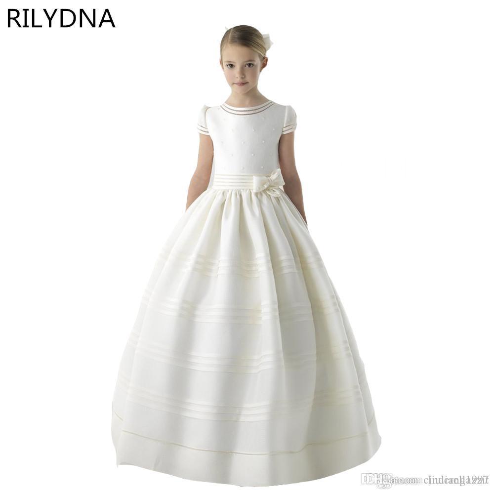 c4c79d9b936b3 2019 New Arrival Flower Girl Dress First Communion Dresses For Girls Short  Sleeve Belt With Flowers Customized