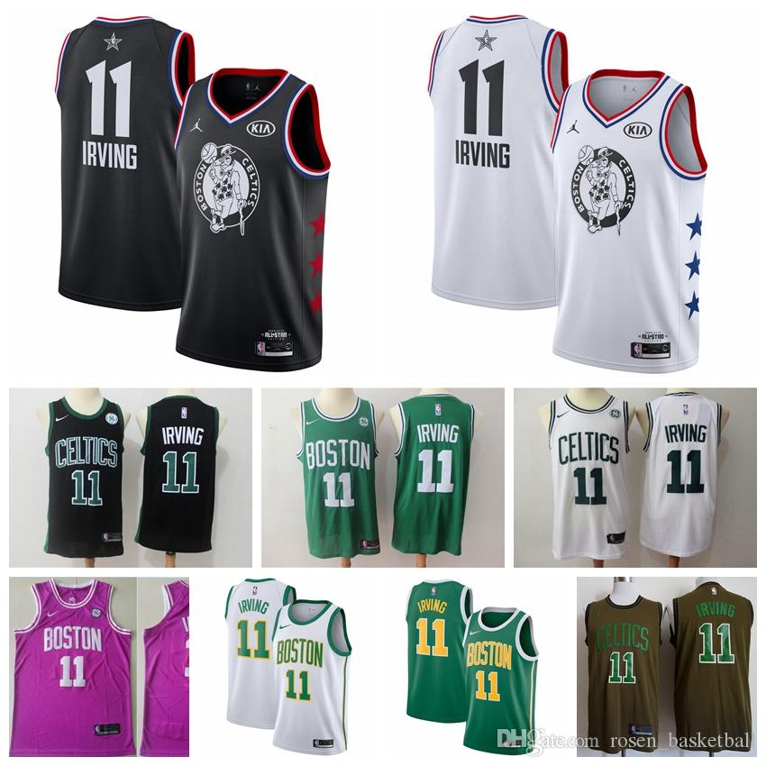 buy online fb1bb 62517 2020 Mens Kyrie Irving Jersey Boston Celtic Basketball Jerseys Stitched  Embroidery The City New Edition Celtic Irving Basketball Shorts
