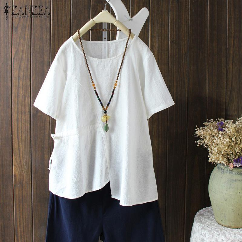 5f0d423abff Summer Tops 2019 ZANZEA Women Vintage Short Sleeve Blouse Casual ...