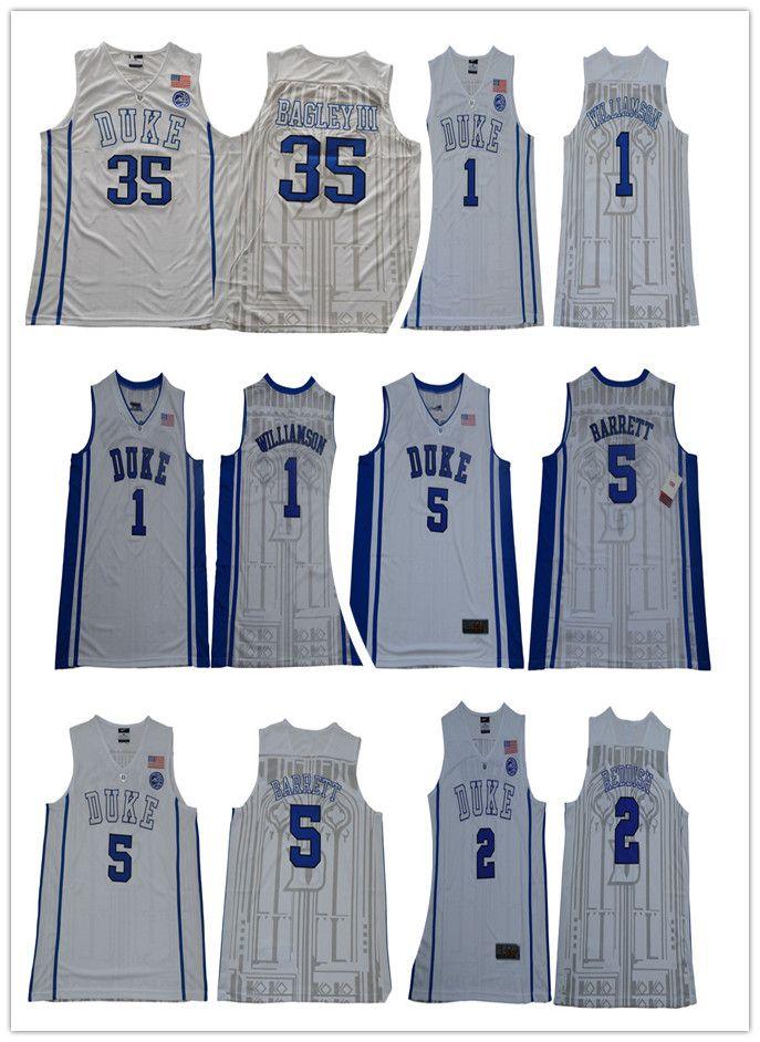2e4ded707c79 2019 Mens NCAA Duke Blue Devils 1 Zion Williamson 5 RJ Barrett 2 Cameron Reddish  35 Marvin Bagle III White College Basketball Jerseys From Urbanfantasy