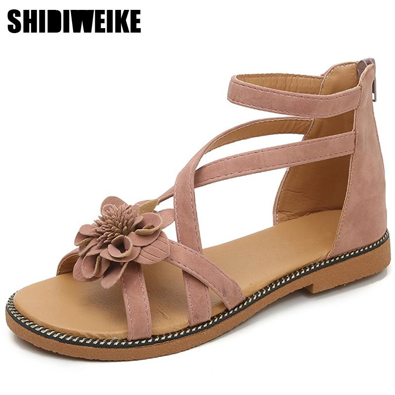 d2969fa0a31ad 2019 Summer Women Sandals Sweet Flower Casual Flat Shoes Roman Ankle Strap  PU Leather Flower Sandal Women Shoes N900 Gold Sandals Sandals For Women  From ...