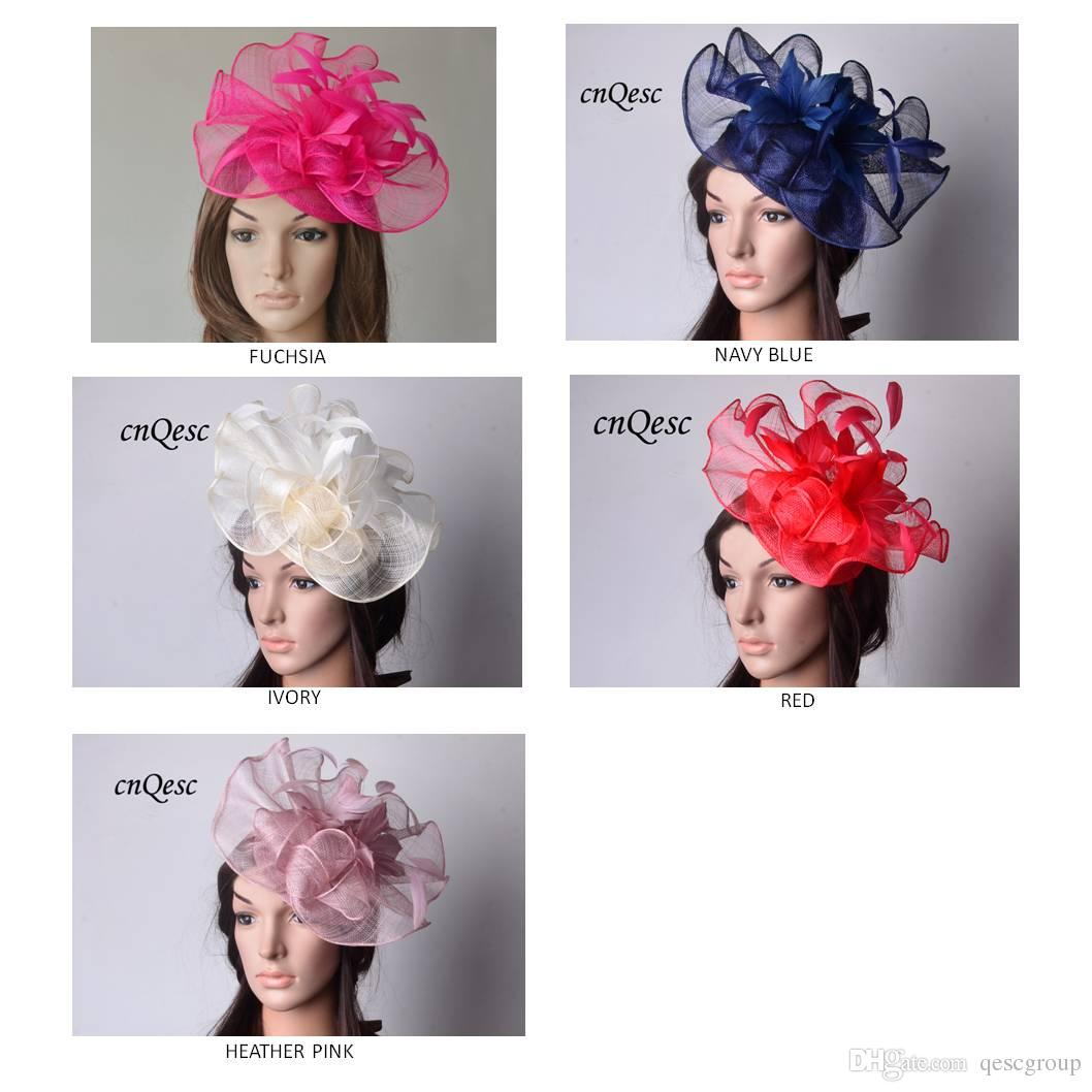 Big Sinamay Fascinator Hat Feather Fascinator For Melbourne Cup ... 11afc863d2e