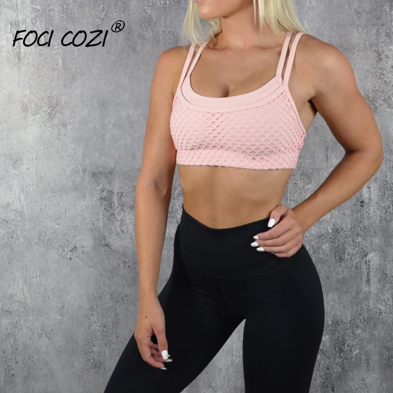 a8d3732f3e1 2019 New Store Mesh Halter Crop Top Sleeveless 2019 Women Solid Color  Geoetric Pink Top Adjustable Fitness Sport Bra Top For Running From  Wangzi001, ...