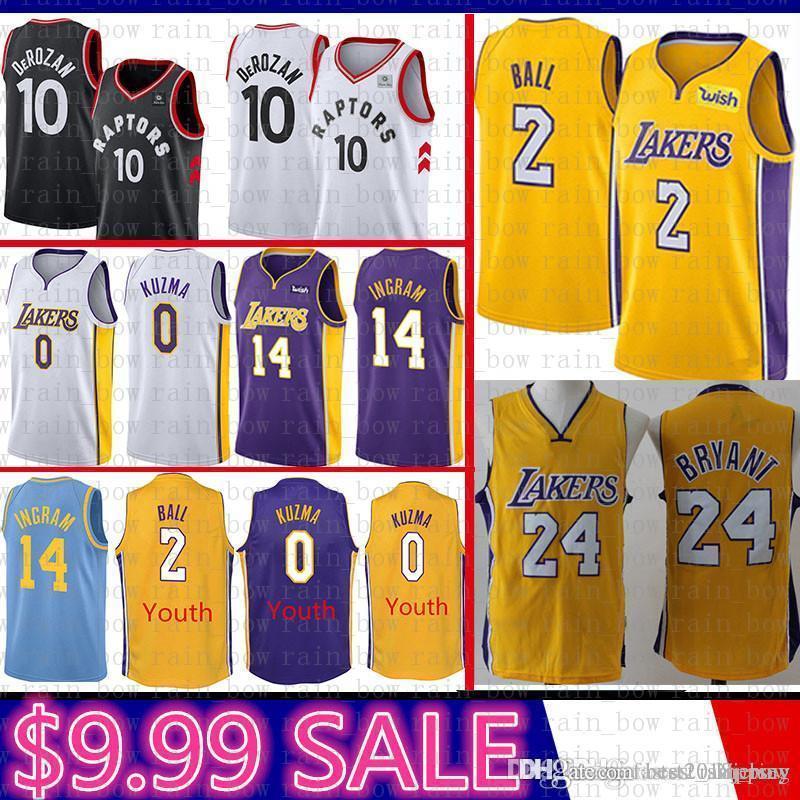 eab7cd65a Top Youth Mens 24 Kobe Bryant Los Angeles 2 Lonzo Ball 0 Kyle Kuzma ...