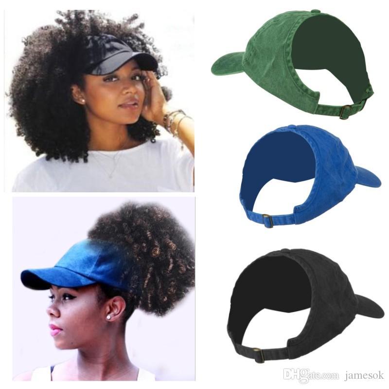 d2ac42c69 Women's ponytail baseball cap Half empty top Visor Messy Bun Snapback Cap  Natural Hair Hats dad hat Afro Curly Hair Backless hat dc081