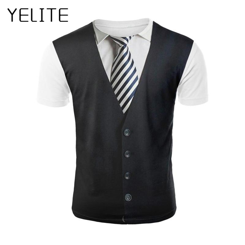 YELITE Fake Two Pieces T Shirt Men Uniform Print Tshirt Summer Funny Clothes Print Suit Tops Fashion Skin Tight 3d Tees Shirt