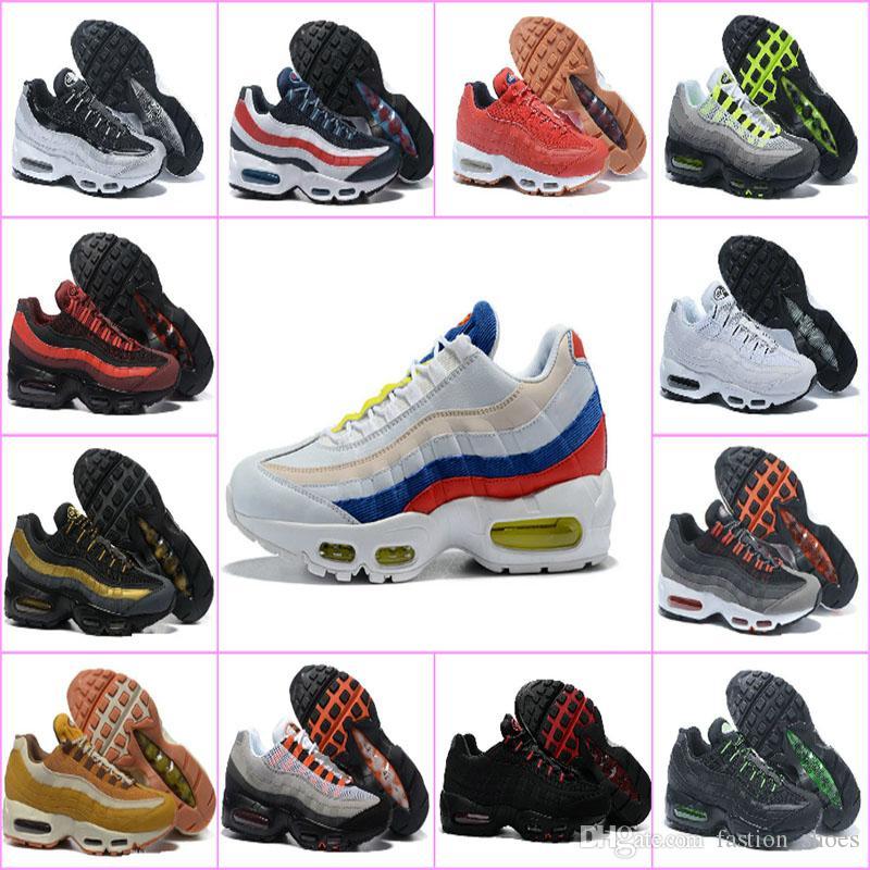 outlet store ca19d 287b3 Acheter 2019 New Air Mens Chaussures De Course 95 20ème Anniversaire Neon  Sports Designer 95s Hommes Baskets Blanc Zapatos Sneakers De  55.28 Du ...
