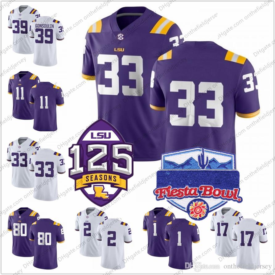 new arrival 2cf4e 6d793 NCAA LSU Tigers #33 Jamal Adams 80 Jarvis Landry 1 Eric Reid 11 Spencer  Ware 2 Randle 17 Claiborne 125th & Fiesta Bowl Football Jersey S-3XL