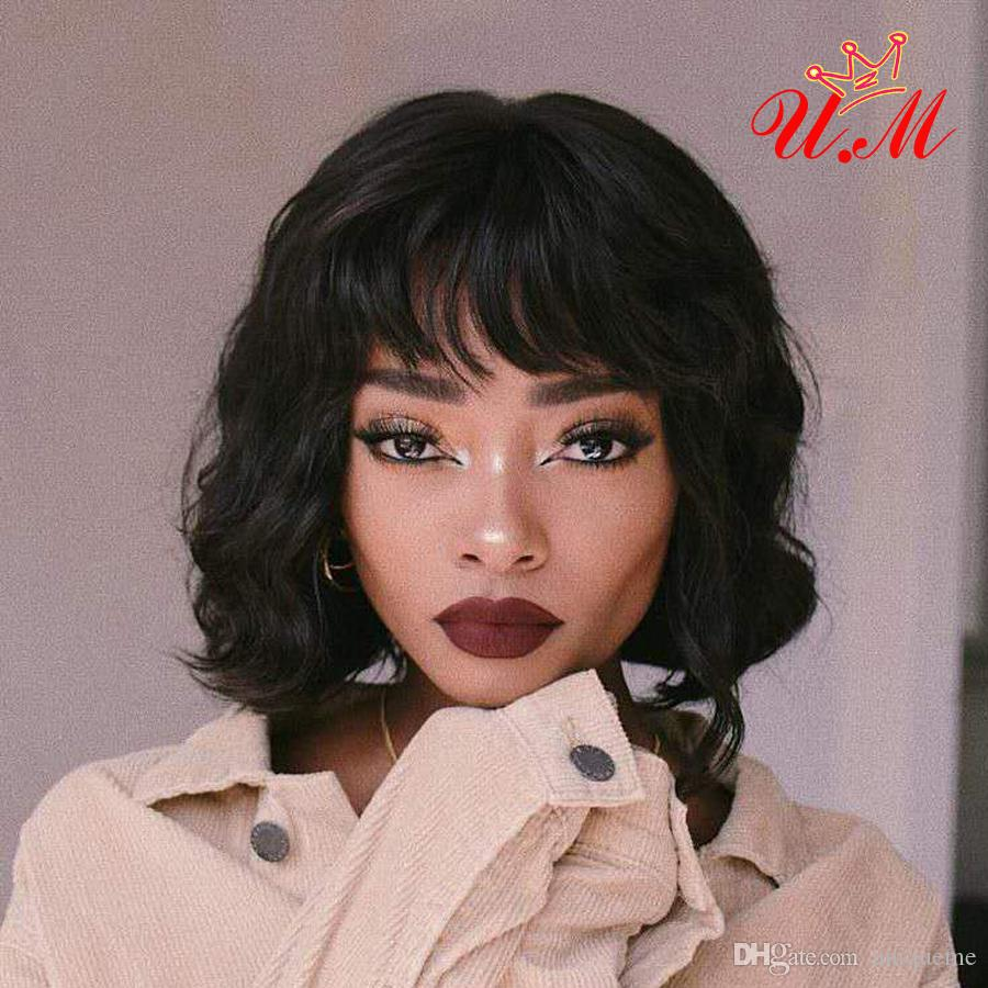 short brazilian human hair body wave wig with bangs short bob human hair  wigs with bangs brazilian remy hair 13x4 lace front wig