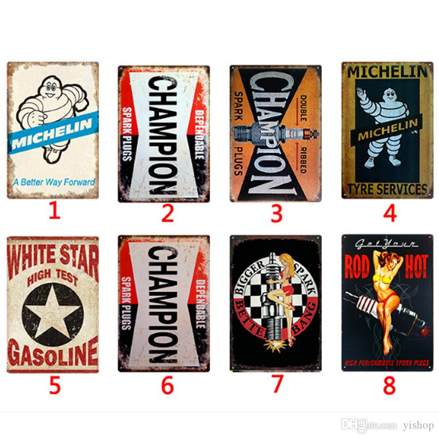 Wholesale Oil Shell Chiampion Metal Signs Tin Painting Posters Crafts  Supplies Art Picture 20*30cm Bar, Cafe, KTV Home Wall Decor