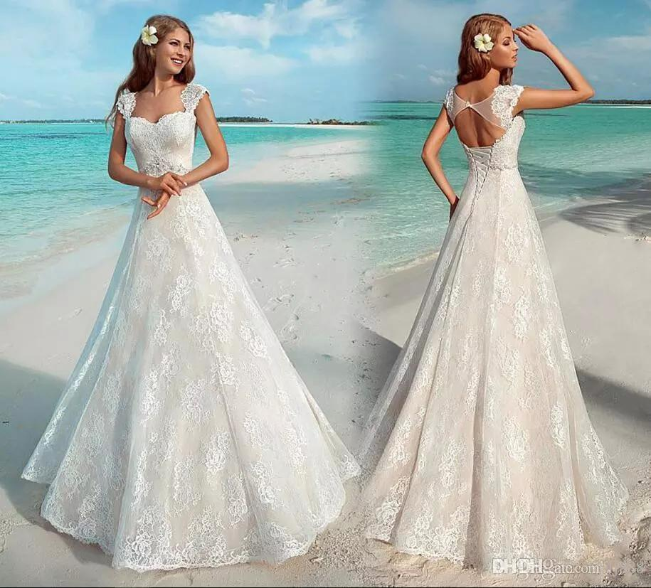 6773de3957ce5 Discount New Elegant Summer Beach Wedding Dresses Vintage Full Lace Cap  Sleeve Sexy Open Back Lace Up Bridal Gowns Cheap Custom Made Wedding Dresses  Styles ...