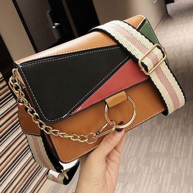 Patchwork Panelled Crossbody Bag For Women Pu Leather Hit Color Chains Messenger Bag Women Purse Design Girls Handbag New