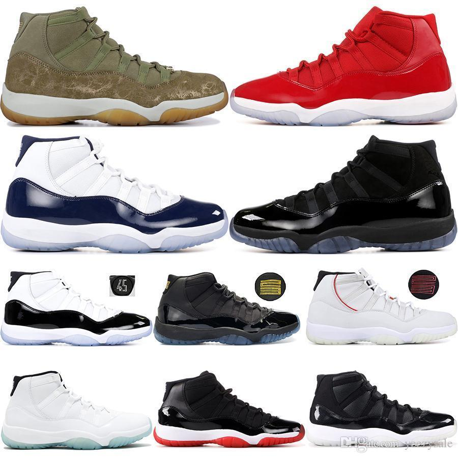 11 Gym Red Platinum Tint Men Basketball Shoes Olive Lux Concord 45 Space Jam Gamma Blue 11s Bred Cap And Gown Sneakers 36-47