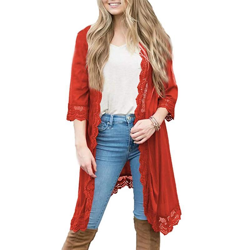 ca9f2156 Tallas grandes Otoño Blusas Mujeres Encaje Largo Cardigan punto abierto  Kimono Mujer Roupa Chaqueta Coreana Abrigo Ropa Outwear S-2XL