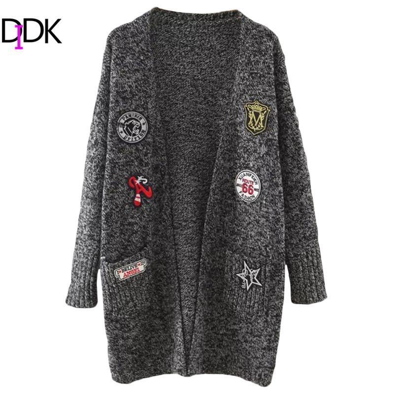 DIDK Womens Cardigan Sweaters Ladies Autumn Long Sleeve Marled Knit Patch  Open Front Long Cardigan With Pockets Online with $36.36/Piece on Ranrui\u0027s  Store
