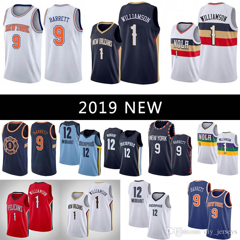12 Morant Watanabe 2019 New 1 Williamson 9 Barrett White Blue Grey Red Cool Breathable Mens Stitched Jerseys