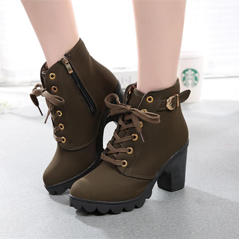 6d8366a08 Compre Sapatos De Vestido Masorini Inverno Mulheres Casuais Bombas Ankle  Boots À Prova D Água Quente De Salto Alto Mulheres Botas De Neve Mulheres  Botas W ...