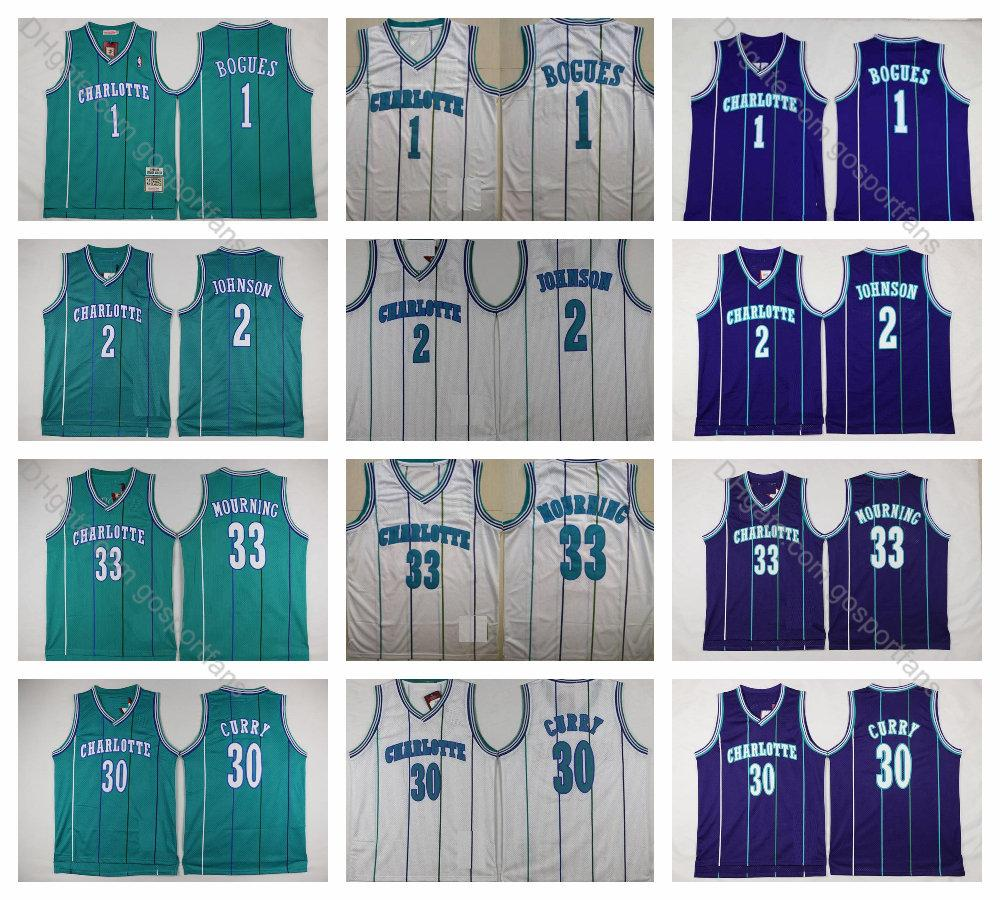 premium selection fff83 f8c4e Vintage Charlotte Muggsy Bogues Jersey 1 Hornets Basketball Jersey Larry  Johnson Grandma-ma 2 Dell Curry 30 Alonzo Mourning 33 Stitched