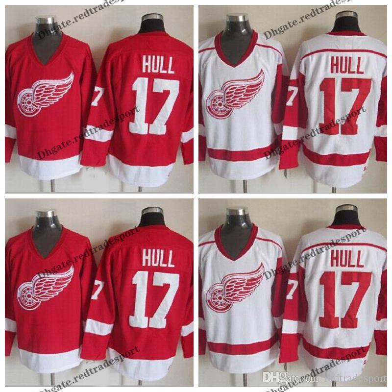sale retailer 18e07 1346d Mens Detroit Red Wings #17 Brett Hull Jersey Vintage Home Red White Brett  Hull Stitched Hockey Jerseys Cheap M-XXXL