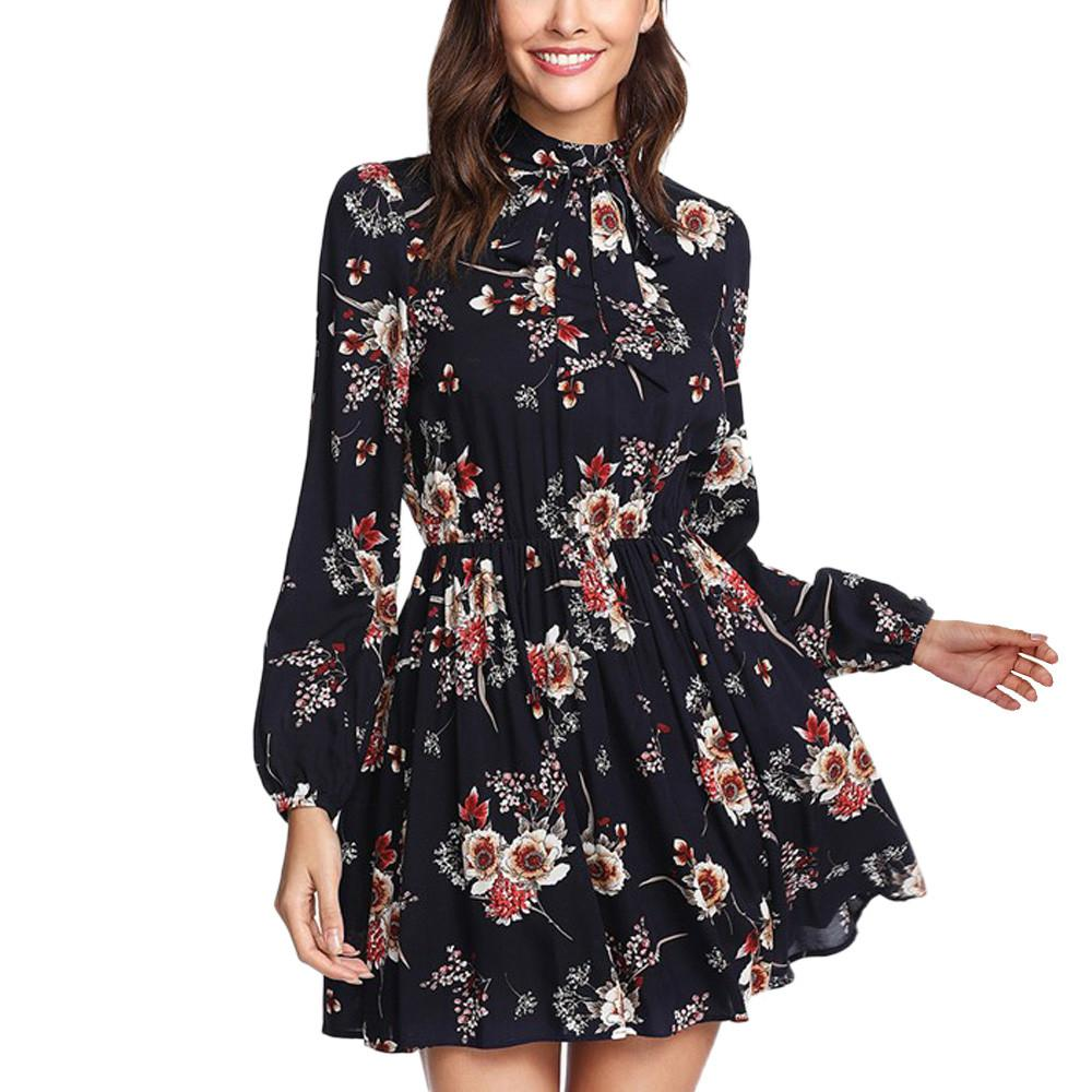 Floral Women Dresses Elegant Long Sleeve party dress Winter Lace Up casual winter dress vestidos mujer 2018 ##