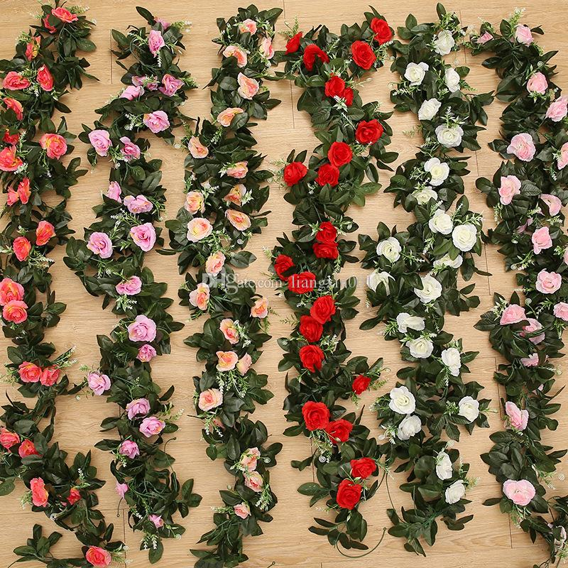 240cm Artificial Rose Flower Fake Hanging Decorative Roses Vine Plants Leaves Artificials Garland Flowers Wedding Wall Decoration FreeDrop