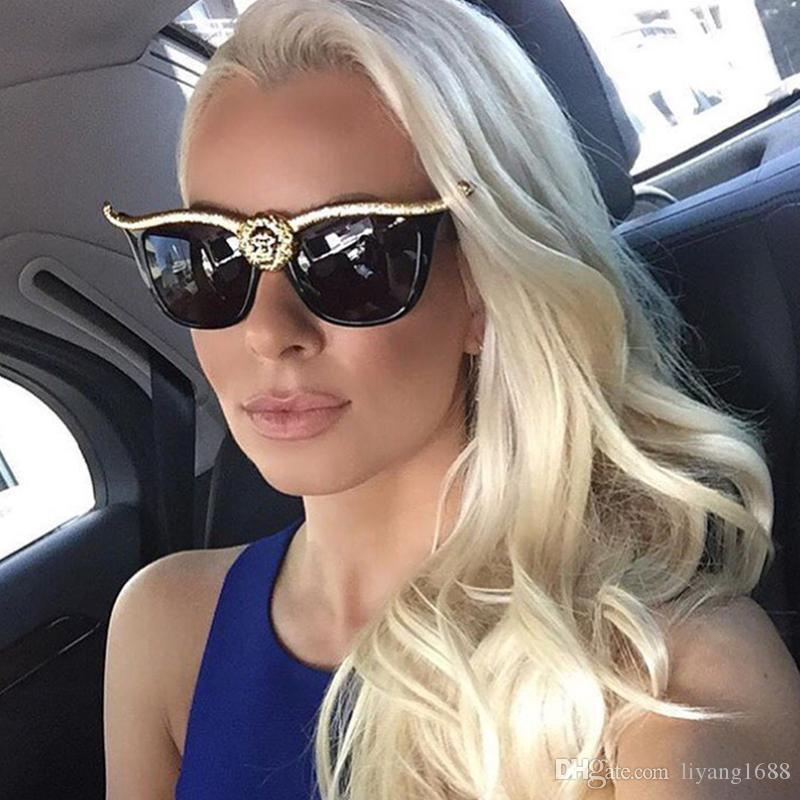 e8c69464df Compre Cabeza De León Gafas De Sol Hombres Mujeres Estilo Americano Europeo  Estilo Fresco Pareja Gafas De Sol Personalidad De La Moda Gafas De Sol De  ...