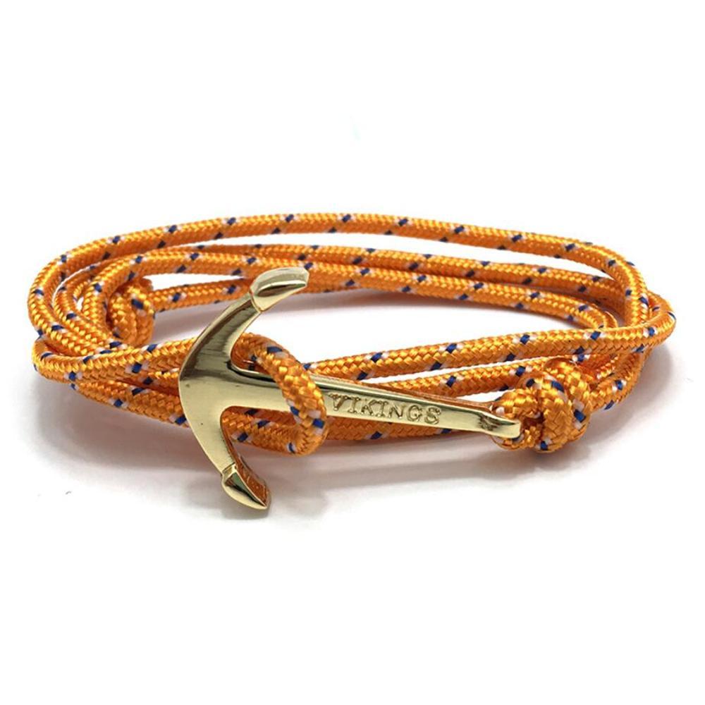 Moda con estilo Vintage Charm pulseras brazaletes para hombres mujeres calientes hechos a mano cuerda brazalete chapado en oro pulsera de ancla vikingos