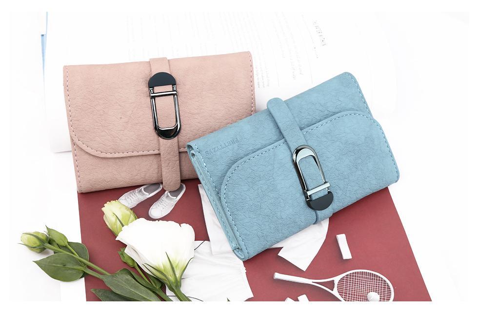 2018 New Fashion Women Wallets Leather Zipper Wallet Women's Short Design Purse Coin Purses Card Holder Clasp Carteira