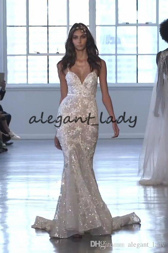 Courtesy of Berta Wedding Dresses 2020 Spaghetti Lace Applique Mermaid Cathedral Train Sparkly Sequins Bride Outdoor Wedding Gown