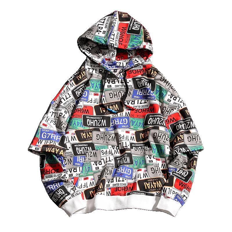 2019 Spring Mens Hoodies Letters and Numbers Printed Paste Form Hip Hop Printed Color Block Patchwork Casual Pullover W19118