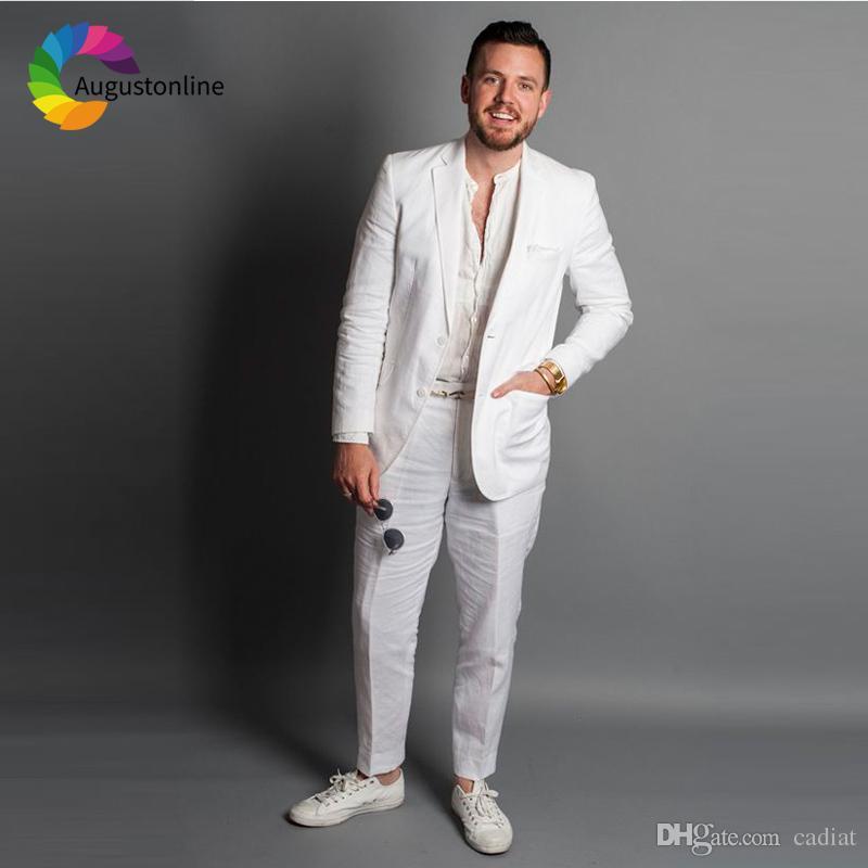 Acheter Costumes De Mariage En Lin Blanc Pour Les Hommes 2019 Slim Fit Groom  Wear Smokings 2 Pièces Veste + Pantalon Groomsman Blazer Costume Homme De  ... 17bae5671a8