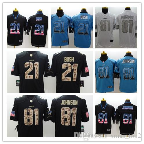 newest 2e63e eeba9 New Mens 21 Ameer Abdullah Detroit Jersey Lions Football Jersey 100%  Stitched Embroidery Lions 81 Johnson Color Rush Football Shirt