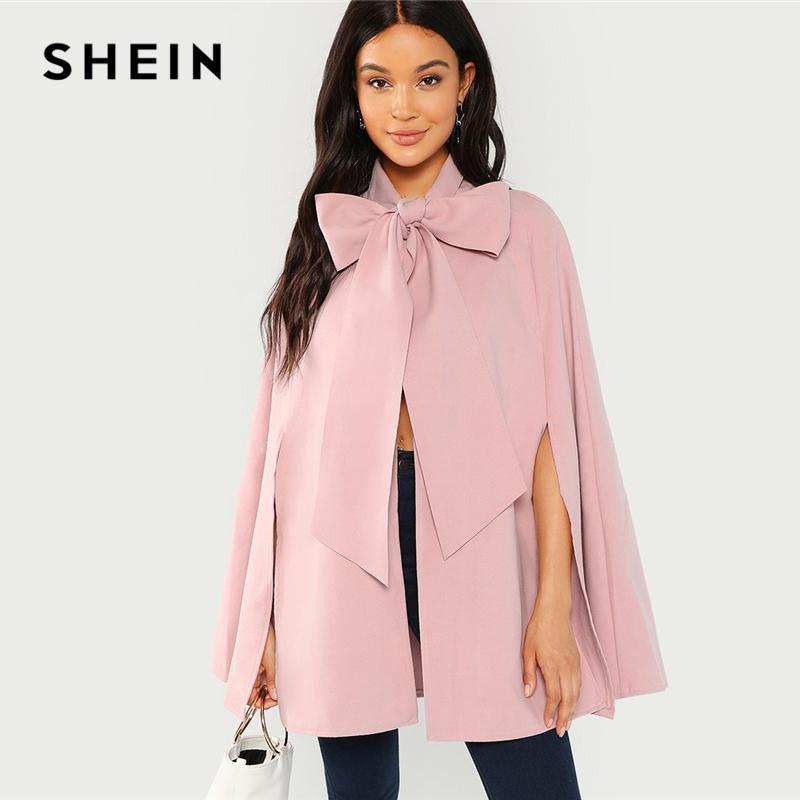 4a488123fd6336 Acquista SHEIN Pink Elegante Abbigliamento Da Lavoro Fessura Posteriore  Legato Anteriore Mantello Mantello Cappotto Solido Autunno Moda Highstreet  Donna ...