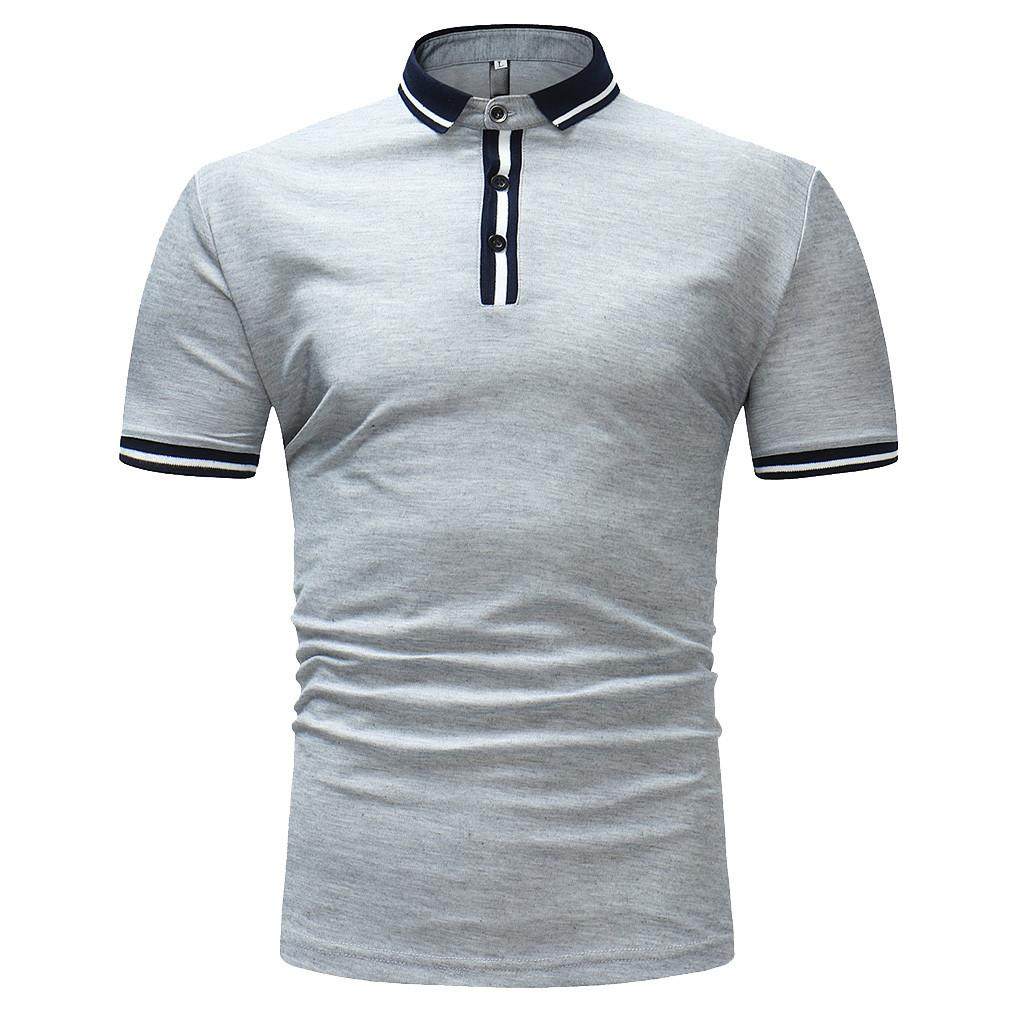 Polo Shirt Men 2019 Men's Clothing Buttons Design Half Cardigans Patchwork Casual Slim Fit Men Polo Shirt