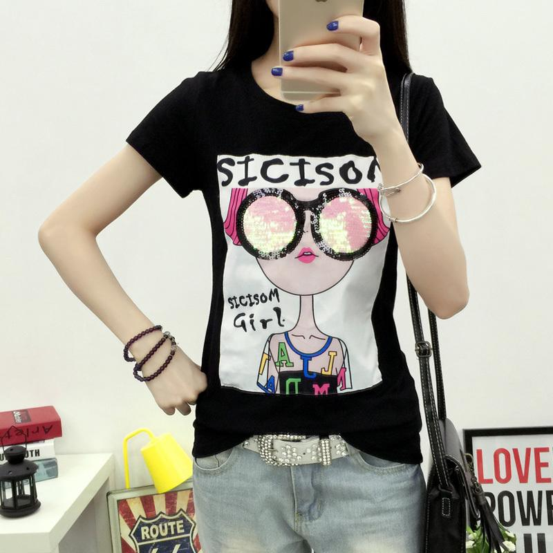 Korean Spring 2017 Women T-shirts Sequined Cartoon Girl Long Sleeve T Shirt Cotton Tops Tees O Neck Students Top Woman Tshirts Y19042501